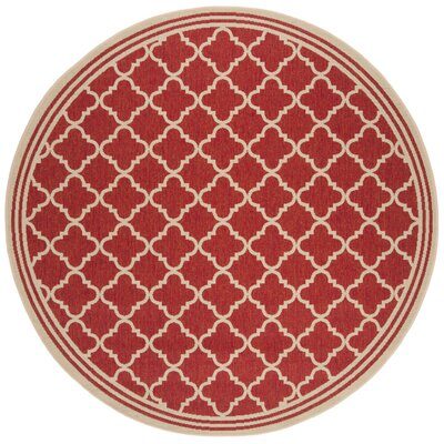 Altizer Red/Cream Area Rug Rug Size: Round 67