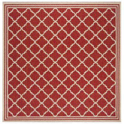 Altizer Red/Cream Area Rug Rug Size: Square 67