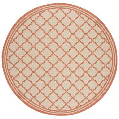 Berardi Cream/Rust Area Rug Rug Size: Round 67