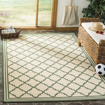 Berardi Cream/Green Area Rug Rug Size: Rectangle 8 x 10
