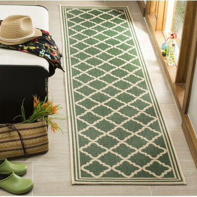 Berardi Green/Cream Area Rug Rug Size: Runner 2 x 8