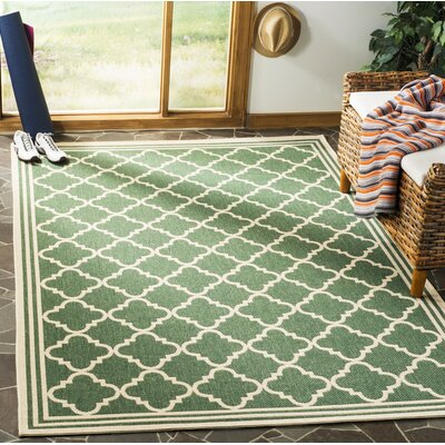 Berardi Green/Cream Area Rug Rug Size: Rectangle 4 x 6