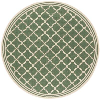 Berardi Green/Cream Area Rug Rug Size: Round 67