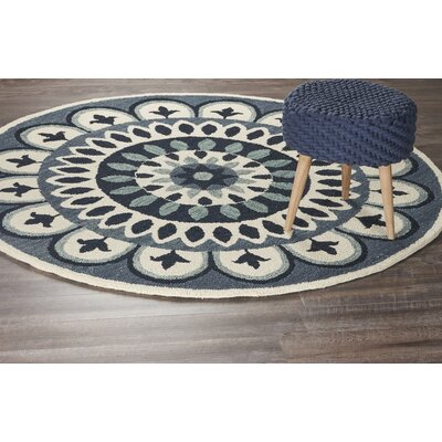 Owensboro Hand-Tufted Navy Area Rug Rug Size: Round 6