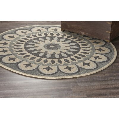Elmbridge Hand-Tufted Gray Area Rug Rug Size: Round 6