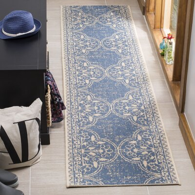 Berardi Cream/Blue Area Rug Rug Size: Runner 2 x 8
