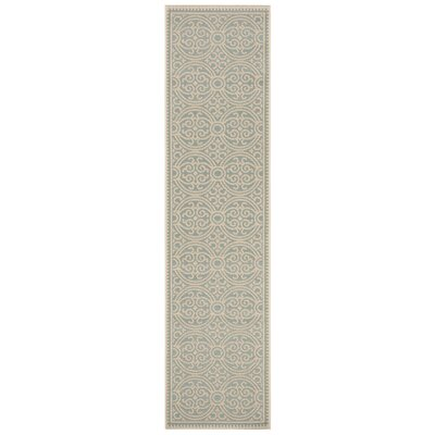 Burnell Cream/Aqua Area Rug Rug Size: Runner 2 x 8