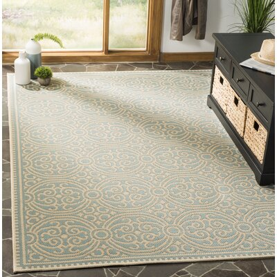 Burnell Cream/Aqua Area Rug Rug Size: Rectangle 9 x 12