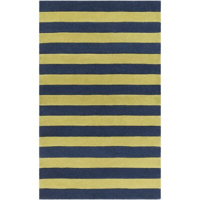 Freetown Lime/Navy Stripe Area Rug Rug Size: Rectangle 5 x 8