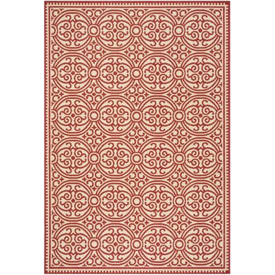 Altizer Red/Cream Area Rug Rug Size: Rectangle 9' x 12'