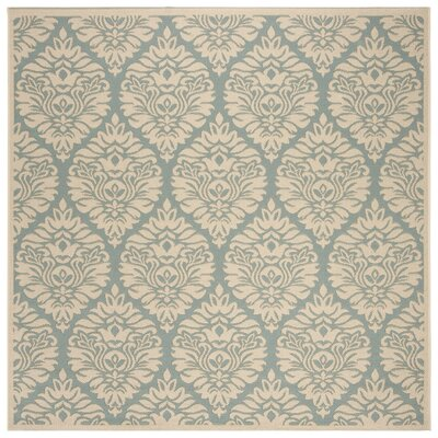 Burnell Aqua/Cream Area Rug Rug Size: Square 67