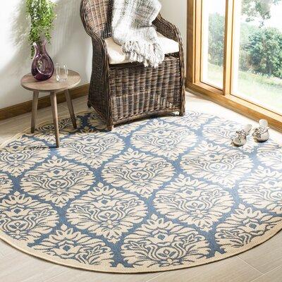 Berardi Blue/Cream Area Rug Rug Size: Round 67