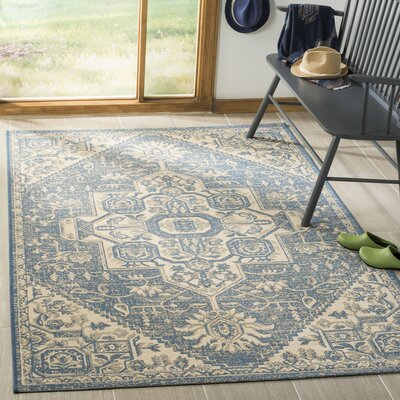 Berardi Cream/Blue Area Rug Rug Size: Rectangle 8 x 10