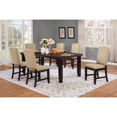 Dyess 7 Piece Counter Height Dining Set Chair Color: Khaki