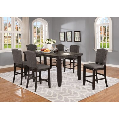 Dyess 7 Piece Counter Height Dining Set Chair Color: Dark Gray