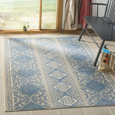 Berardi Cream/Blue Area Rug Rug Size: Rectangle 9 x 12