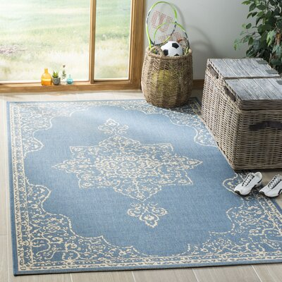 Berardi Cream/Blue Area Rug Rug Size: Rectangle 4 x 6