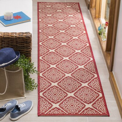 Dreher Red/Creme Area Rug Rug Size: Runner 2 x 8
