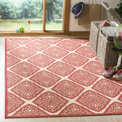 Dreher Red/Creme Area Rug Rug Size: Rectangle 8 x 10