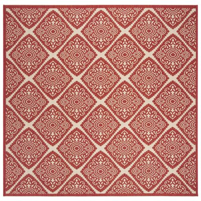 Dreher Red/Creme Area Rug Rug Size: Square 67