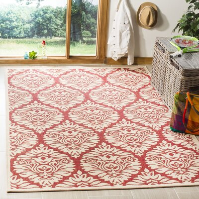 Dreher Red/Creme Area Rug Rug Size: Rectangle 4 x 6