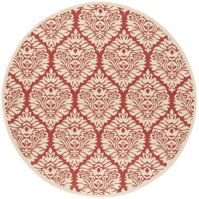 Dreher Red/Creme Area Rug Rug Size: Round 67