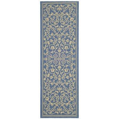 Bexton Blue/Tan Indoor/Outdoor Area Rug Rug Size: Runner 24 x 67