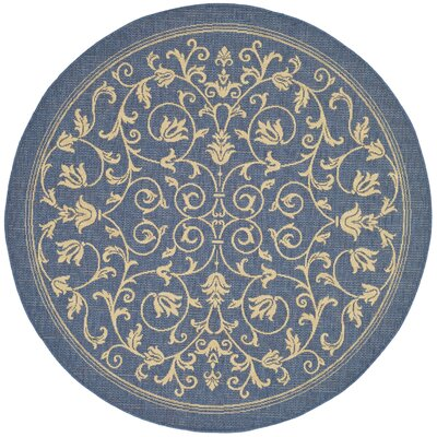 Bexton Blue/Tan Indoor/Outdoor Area Rug Rug Size: Round 53