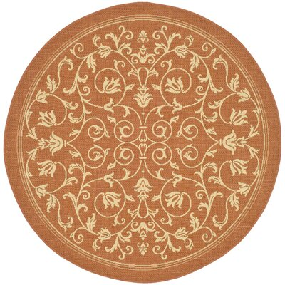 Bexton Persian Terracotta/Natural Indoor/Outdoor Area Rug Rug Size: Round 710