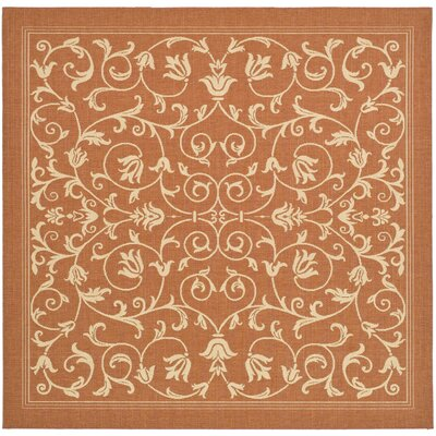 Bexton Persian Terracotta/Natural Indoor/Outdoor Area Rug Rug Size: Square 67