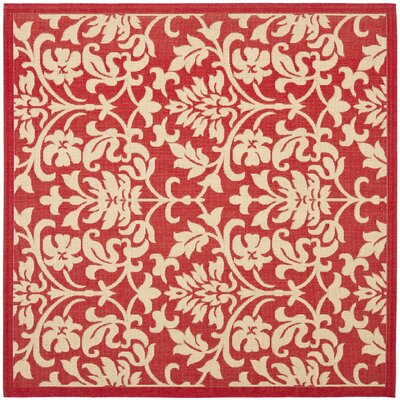 Bexton Hand-Woven Red/Natural Indoor/Outdoor Area Rug Rug Size: Square 67