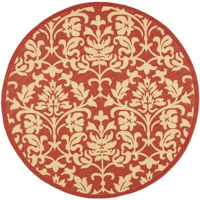 Bexton Hand-Woven Red/Natural Indoor/Outdoor Area Rug Rug Size: Round 67