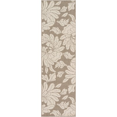 Nash Camel/Cream Indoor/Outdoor Floral Area Rug Rug Size: Runner 23 x 79