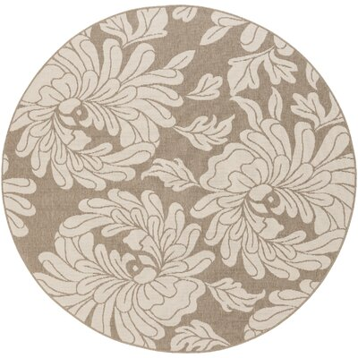 Nash Camel/Cream Indoor/Outdoor Floral Area Rug Rug Size: Round 89
