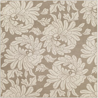 Nash Camel/Cream Indoor/Outdoor Floral Area Rug Rug Size: Square 89