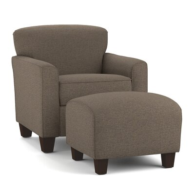 Arm Chair and Ottoman Upholstery: Brown