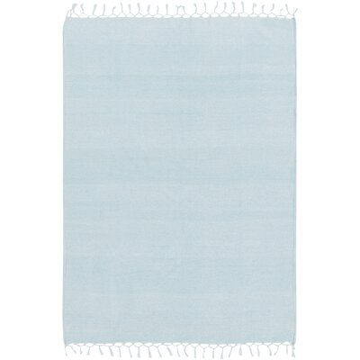 70% Wool, 30% Cotton Throw Blanket Color: Sky Blue