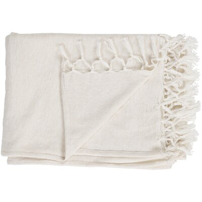 70% Wool, 30% Cotton Throw Blanket Color: Ivory