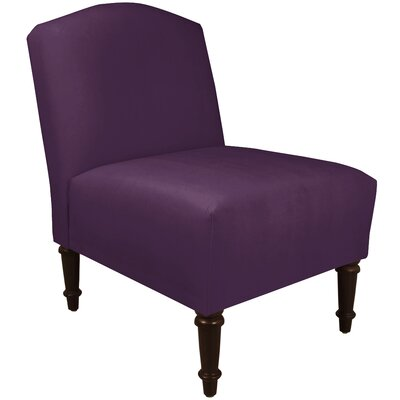 Springdale Camel Back Slipper Chair Upholstery: Velvet Aubergine, Nailhead Detail: No Trim