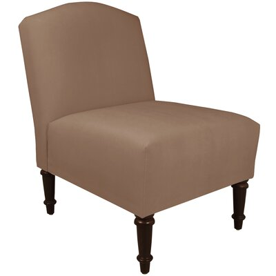 Springdale Camel Back Slipper Chair Upholstery: Velvet Cocoa, Nailhead Detail: No Trim