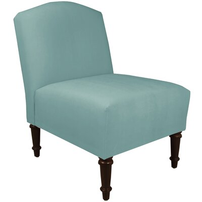 Springdale Camel Back Slipper Chair Upholstery: Velvet Caribbean, Nailhead Detail: No Trim