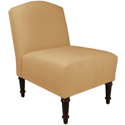 Springdale Camel Back Slipper Chair Upholstery: Velvet Honey, Nailhead Detail: No Trim
