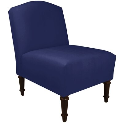 Springdale Camel Back Slipper Chair Upholstery: Velvet Royal/Navy, Nailhead Detail: No Trim