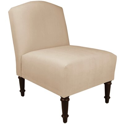 Springdale Camel Back Slipper Chair Upholstery: Velvet Pearl, Nailhead Detail: No Trim