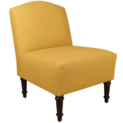 Springdale Camel Back Slipper Chair Upholstery: Linen French Yellow, Nailhead Detail: Brass Nailhead
