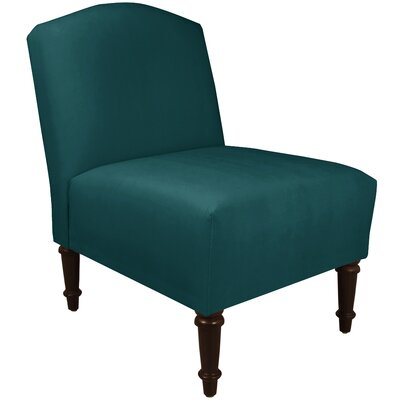 Springdale Camel Back Slipper Chair Upholstery: Mystere Peacock, Nailhead Detail: No Trim