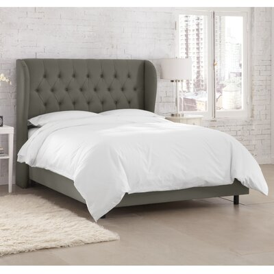 Kingsville Upholstered Panel Bed Upholstery: Twill Grey, Size: California King