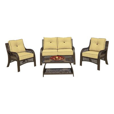 Cassimere 4 Piece Seating Group with Cushions Fabric: Solid Wheat with Solid Brown Welt