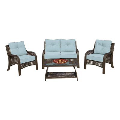 Cassimere 4 Piece Seating Group with Cushions Fabric: Solid Sky Blue with Self Welt