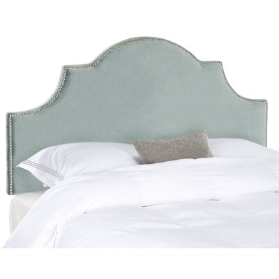 Caswell Upholstered Headboard Size: Queen, Nailhead Finish: Silver, Color: Wedgwood Blue